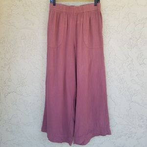 Free People Crinkled Cotton High Rise Palazzo Pant